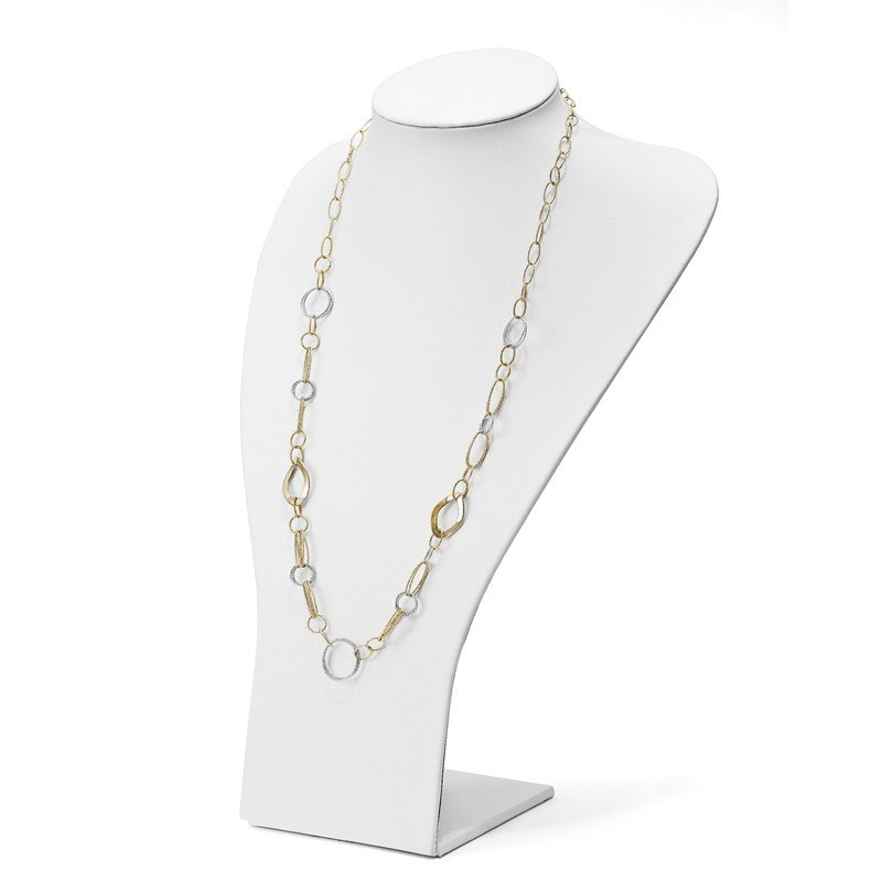Leslie's Leslie's 14K Two-tone Polished and Textured Fancy Necklace