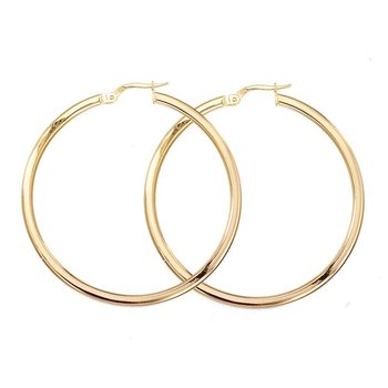 18KT GOLD LARGE HOOP EARRINGS