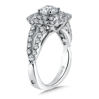 Double Cushion Halo Engagement Ring With Split Shank and Side Stones in 14K White Gold (3/4ct. tw.)