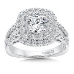 Caro74 Double Cushion Halo Engagement Ring With Split Shank and Side Stones in 14K White Gold (3/4ct. tw.)