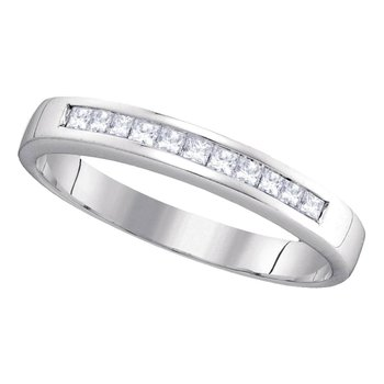 14kt White Gold Womens Princess Channel-set Diamond Single Row Wedding Band 1/4 Cttw - Size 8