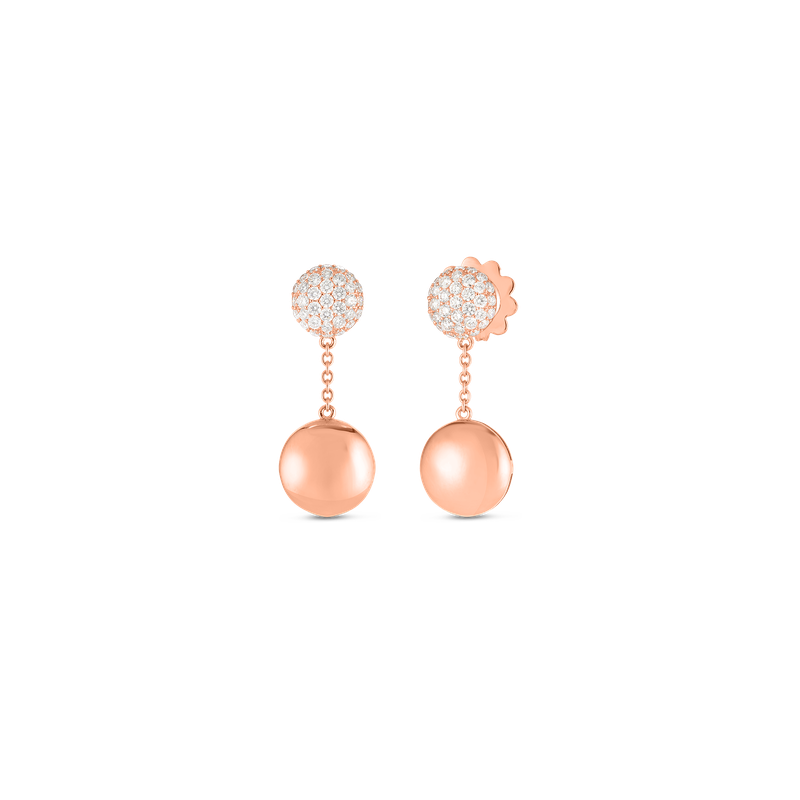 Roberto Coin  #27371 Of 18Kt Gold Disc Earrings With Diamonds