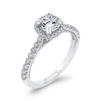 Love Story 14K White Gold Round Cut Diamond Halo Engagement Ring (Semi-Mount)