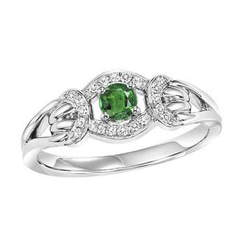 14K Emerald & Diamond Ring