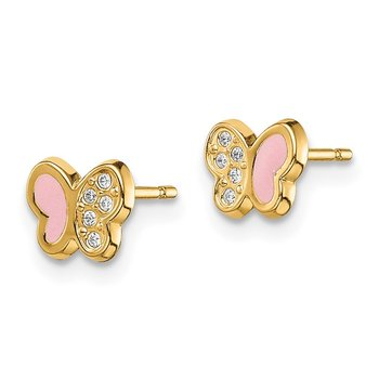 14k Madi K CZ Pink Enamel Butterfly Post Earrings