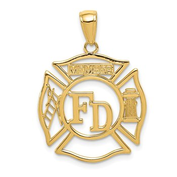 14k FD MEMBER in Shield Pendant
