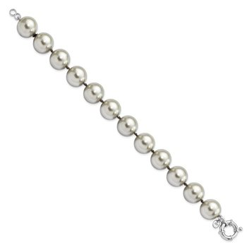 Sterling S Majestik Rh-pl 14-15mm Grey Imitat Shell Pearl Hand Knotted Brac