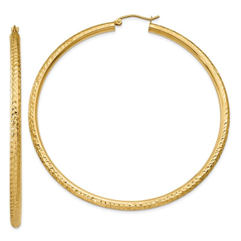 Quality Gold 14k Diamond-cut 3mm Round Hoop Earrings