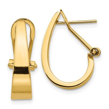 14k Polished J-Hoop Omega Back Post Earrings
