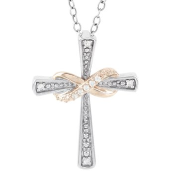 Sterling Silver and 10k Rose Gold Diamond Accent Cross Pendant