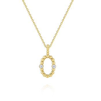 Diamond Oval Frame Pendant Necklace Set in 14 Kt. Gold