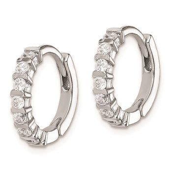 Sterling Silver Rhodium-plated CZ Hinged Earrings