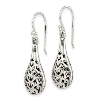 Sterling Silver Antiqued Fancy Dangle Earrings