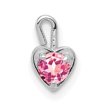 14k White Gold October Synthetic Birthstone Heart Charm
