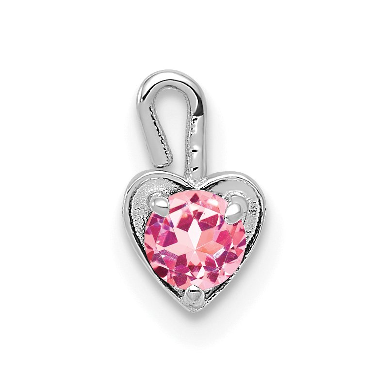 Quality Gold 14k White Gold October Synthetic Birthstone Heart Charm