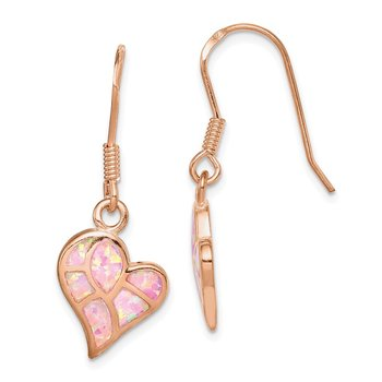 Sterling Silver Rose-tone Created Opal Inlay Heart Dangle Earrings
