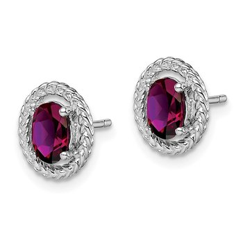 Sterling Silver Rhod-plat Rhodolite Garnet Oval Post Earrings