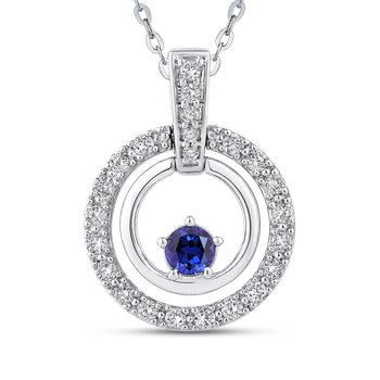 1/3 Ct Diamond with 1/3 Ct Sapphire Fashion Pendant with Chain