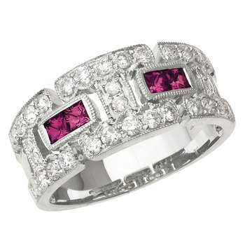 14k White Gold Ruby and Diamond Geometric Band