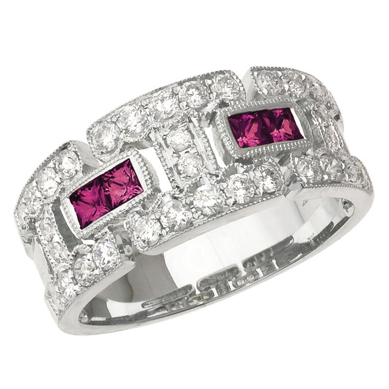 Color Merchants 14k White Gold Ruby and Diamond Geometric Band
