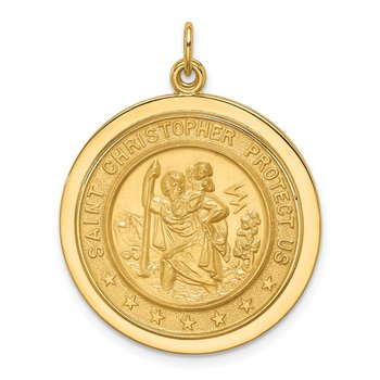 14k Solid Polished/Satin Medium Round Disc St. Christopher Medal