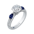 Carizza 14K White Gold Round Diamond and Sapphire Engagement Ring (Semi-Mount)