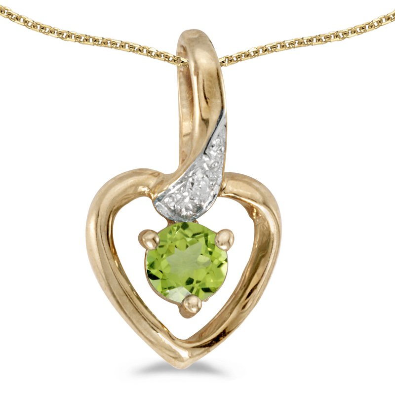 Color Merchants 10k Yellow Gold Round Peridot And Diamond Heart Pendant