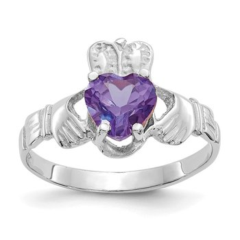 14k White Gold June CZ Birthstone Claddagh Ring
