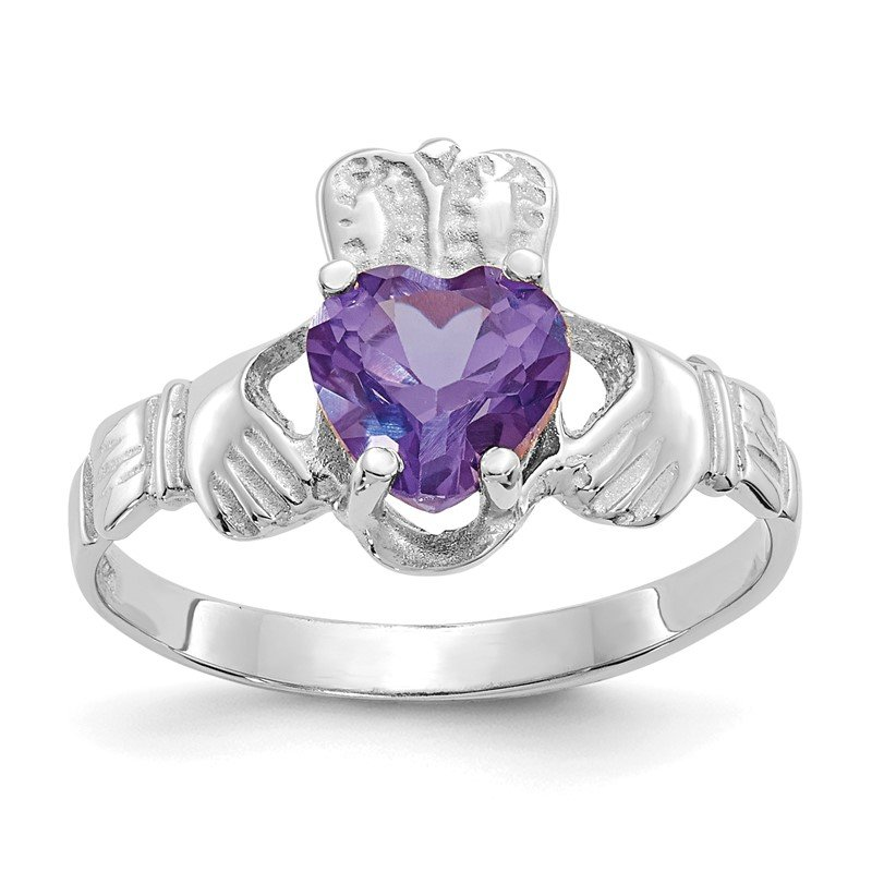Quality Gold 14k White Gold June CZ Birthstone Claddagh Ring