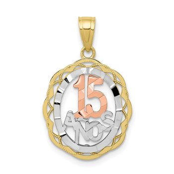 10K Two-tone w/White Rhodium Sweet 15 ANOS Oval Pendant