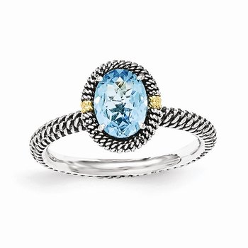 Sterling Silver w/14k Oval Blue Topaz Ring