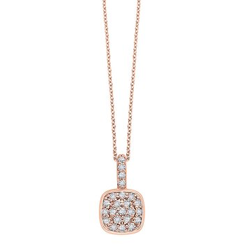 Diamond Cushion Drop Necklace in 14k Rose Gold with 22 Diamonds weighing .45ct tw.