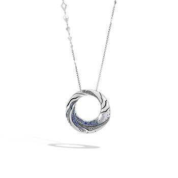 Lahar Long Pedant Necklace in Silver with Gemstone