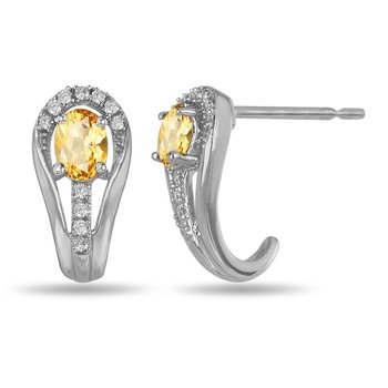 10K WG and diamond and Citrine halo style birthstone earring