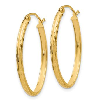 14k Lightweight Diamond-cut Oval Hoop Earrings