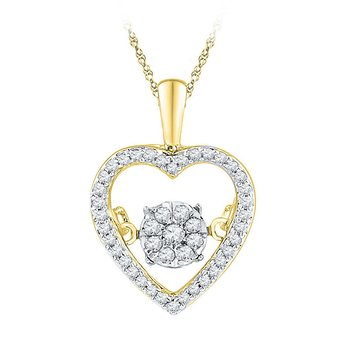 10kt Yellow Gold Womens Round Diamond Cluster Moving Twinkle Heart Pendant 1/5 Cttw