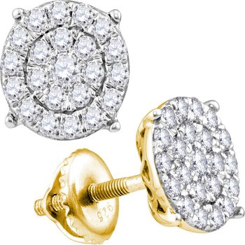 14kt Yellow Gold Womens Round Diamond Concentric Circle Cluster Stud Earrings 2.00 Cttw
