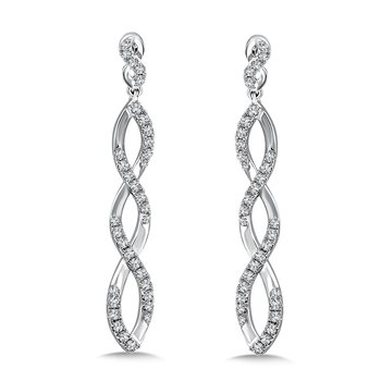 Diamond Earring in 14K White Gold with Platinum Post (0.82 ct. tw. )