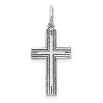 14k White Gold Solid Laser Etched Cross Pendant