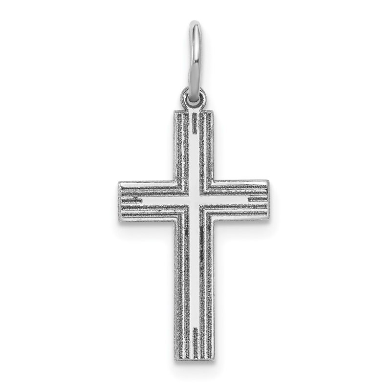 Quality Gold 14k White Gold Solid Laser Etched Cross Pendant