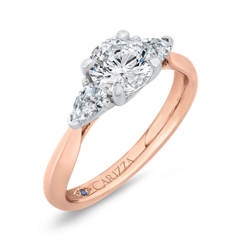 18K Two-Tone Gold Diamond Three-Stone Engagement Ring (Semi-Mount)