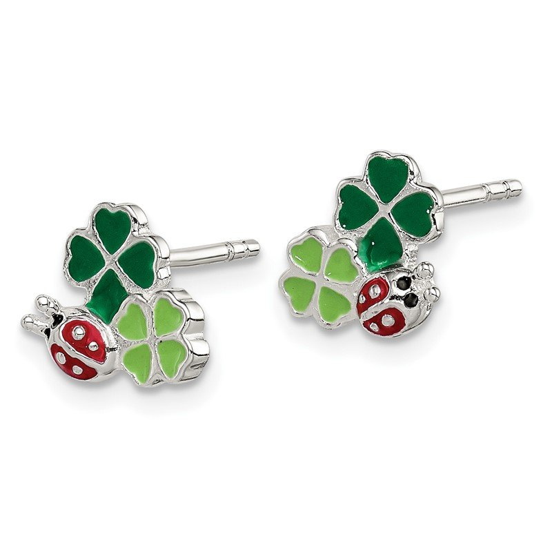 Quality Gold Sterling Silver Enamel Ladybug and Clovers Kid's Post Earrings