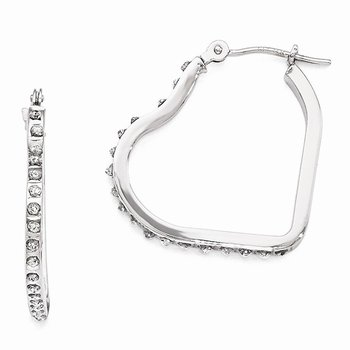 14k White Gold Diamond Fascination Heart Hinged Hoop Earrings