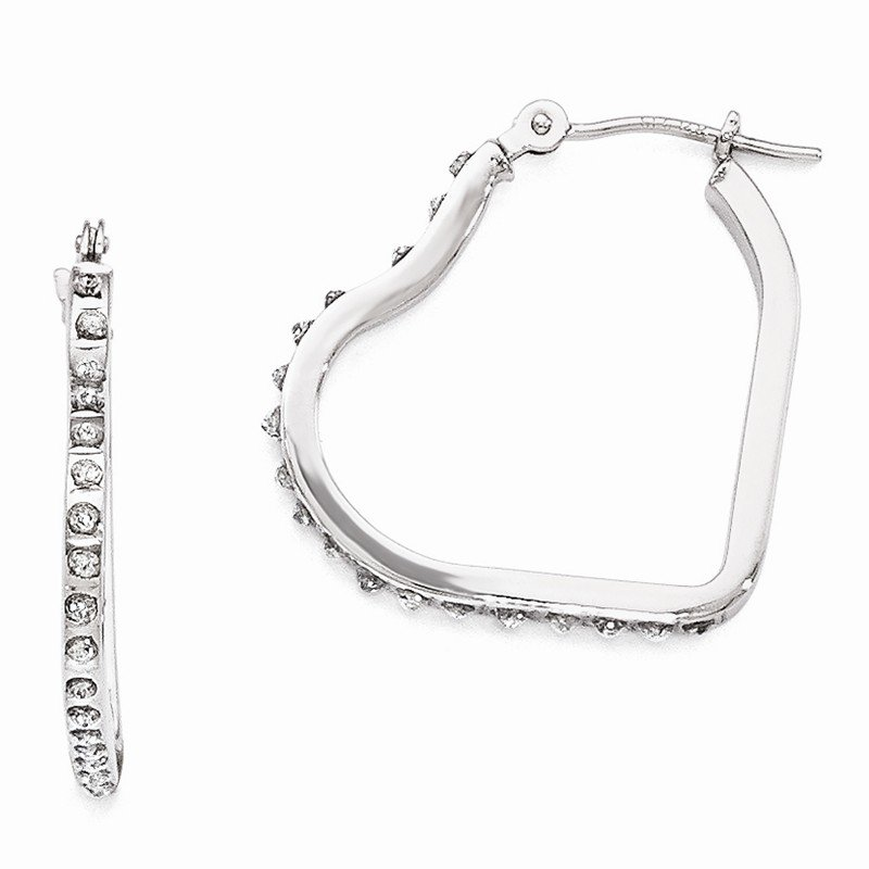 Quality Gold 14k White Gold Diamond Fascination Heart Hinged Hoop Earrings