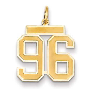 14k Medium Satin Number 96 Charm