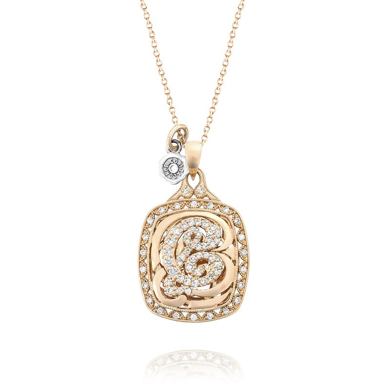 Tacori Monogram Diamond Initial Pendant in Rose Gold | SN222_P