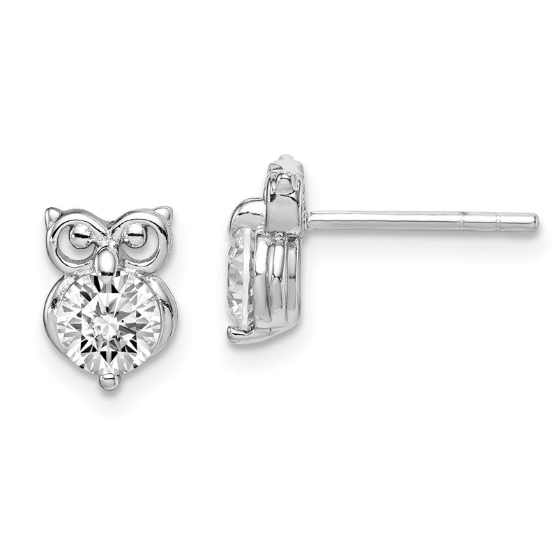 Quality Gold Sterling Silver Rhodium Plated CZ Owl Earrings