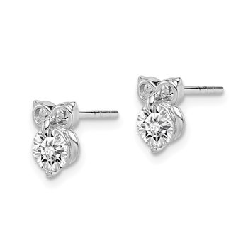 Sterling Silver Rhodium Plated CZ Owl Earrings