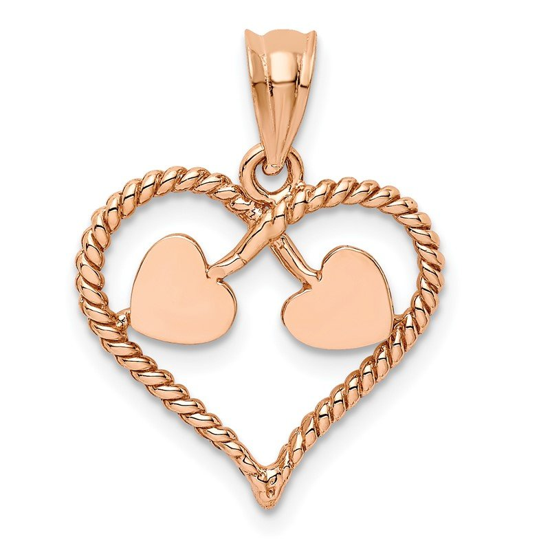 Quality Gold 14K Rose Polished and Twisted Heart Pendant