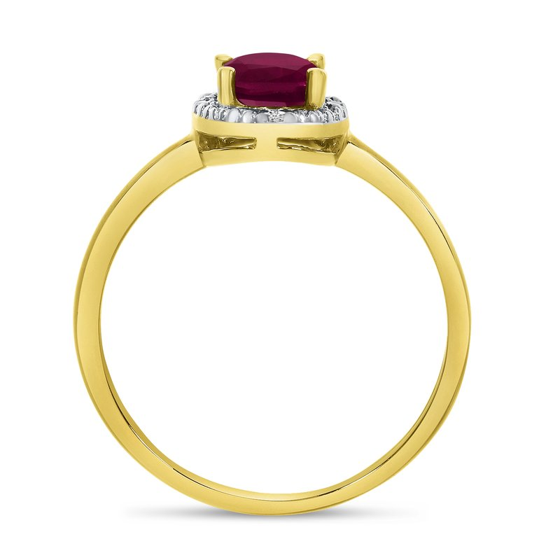 Color Merchants 10k Yellow Gold Oval Ruby And Diamond Ring